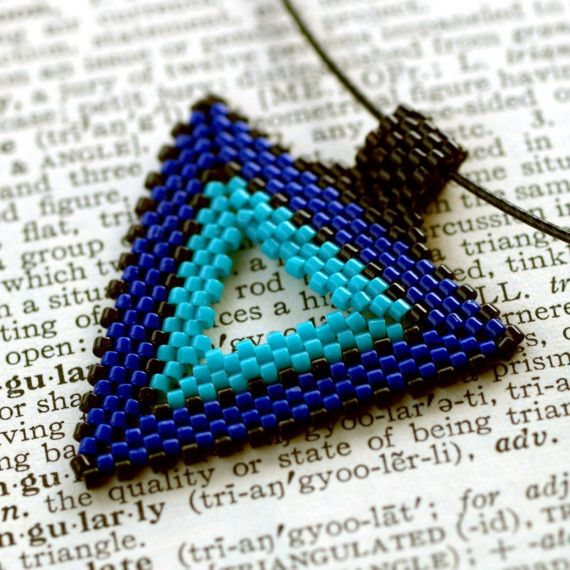 Tri-Color Triangle...  beadwoven pendant on wire choker.  Pictured in royal blue, turquoise, and black; but you can choose any colors you like!  :-)  $24
