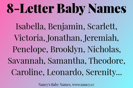 8 Letter Baby Names | Baby Names   Helpful Info | Baby Names, Boy