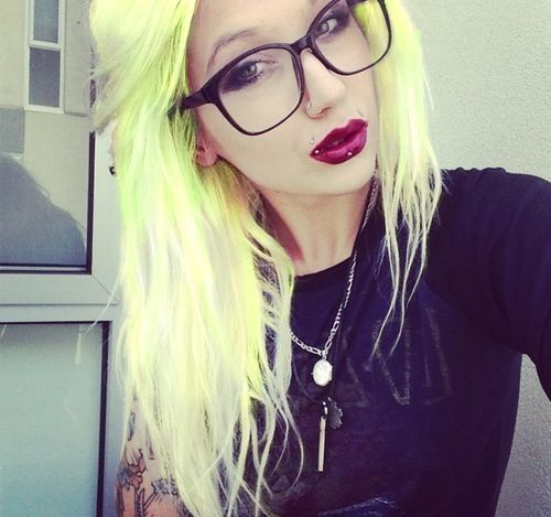 Cool green and yellow pastel colored hair