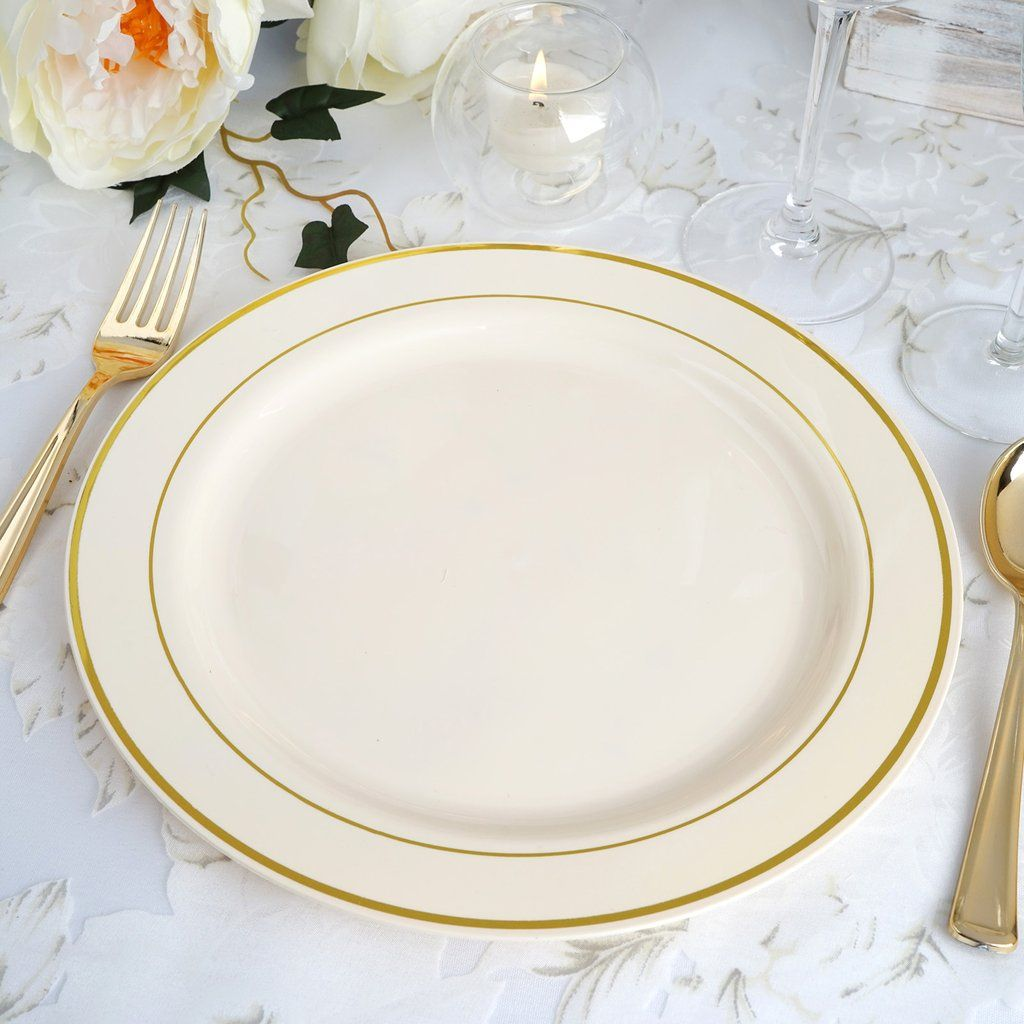 10 Pack 10 Ivory Round Disposable Plastic Dinner Plates With Gold Rim In 2020 Disposable Plates Plastic Dinnerware Plates