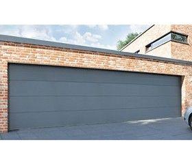 Insulated double skin triple width sectional garage for Garage door widths double