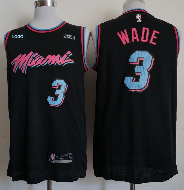 new concept 72195 c9b33 Adult miami vice heat city basketball jersey black 3 | Um ...