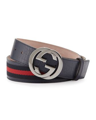 G Buckle Belt, Blue by Gucci at Neiman Marcus.