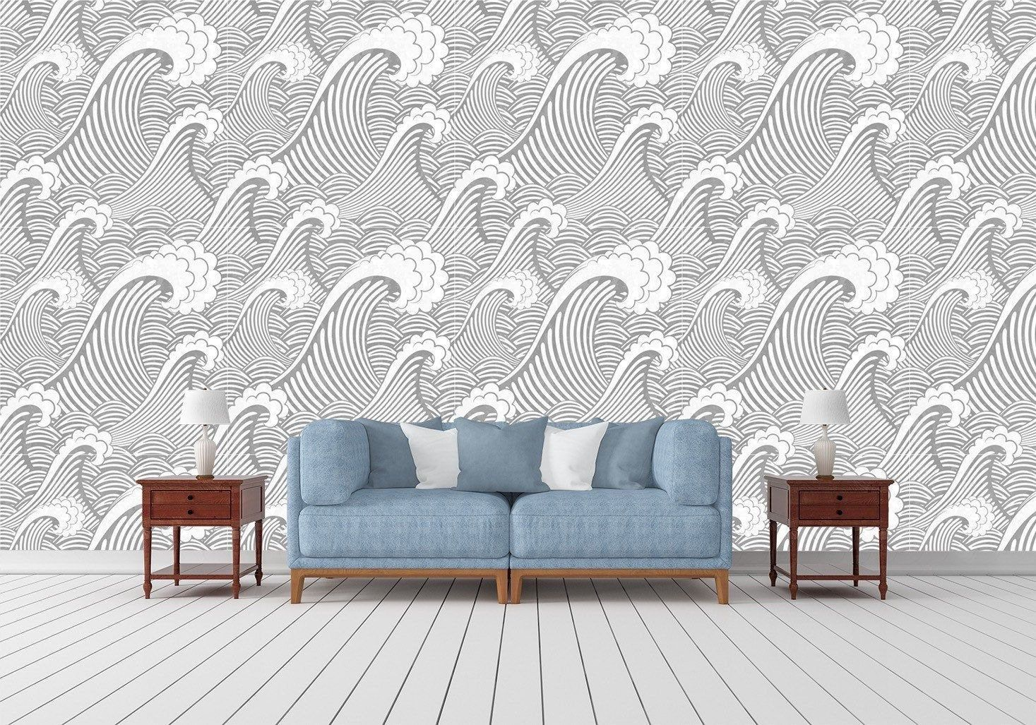 Removable Peel And Stick Wallpaper Grey Ocean Waves Wallpaper Etsy Peel And Stick Wallpaper Waves Wallpaper Vinyl Wallpaper