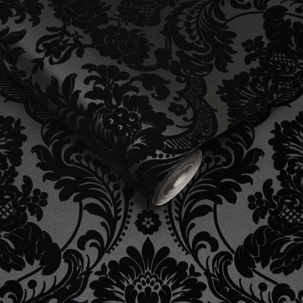 Gothic Damask Flock Wallpaper In Noir From The Exclusives Collection B Burke Decor Black Wallpaper Gothic Wallpaper Dark Wallpaper