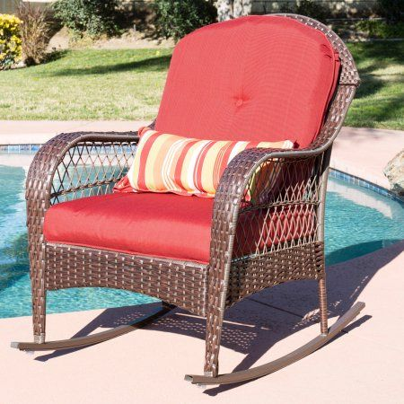 Best Choice Products Outdoor Wicker Patio Rocking Chair W Weather Resistant Cushions And Steel Frame Red Walmart Com Wicker Rocking Chair Patio Rocking Chairs Rocking Chair Cushions