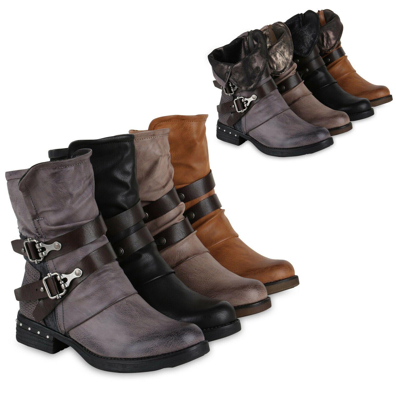 894863 Leicht Gefütterte Damen Stiefel Biker Boots Schnallen