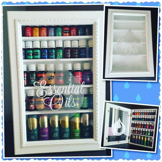 Distressed White Essential Oil Display Case Shelf Cabinet Storage