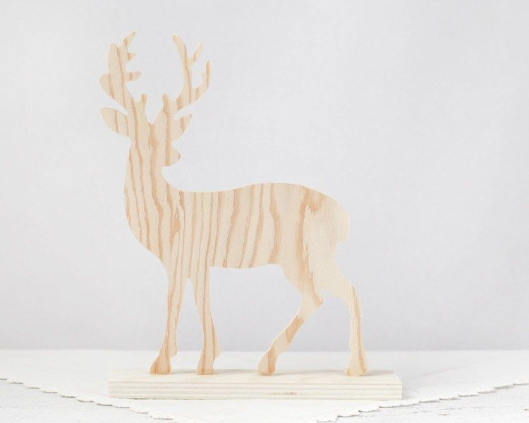 Wooden Deer - Unfinished Plywood Silhouette Cutout A great standing wooden deer…