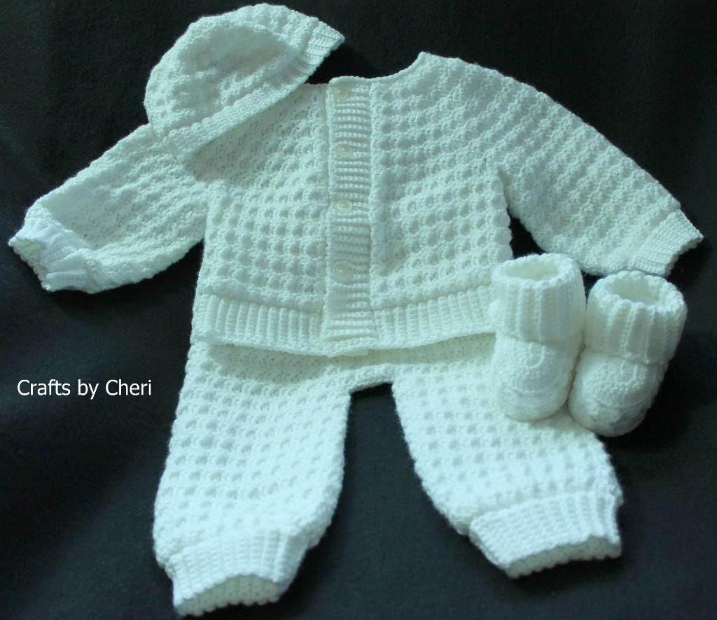 You Have To See Crafts By Cheri Newborn Sweater Set On Craftsy Crochet Baby Sweater Sets Crochet Baby Clothes Crochet Baby Clothes Boy