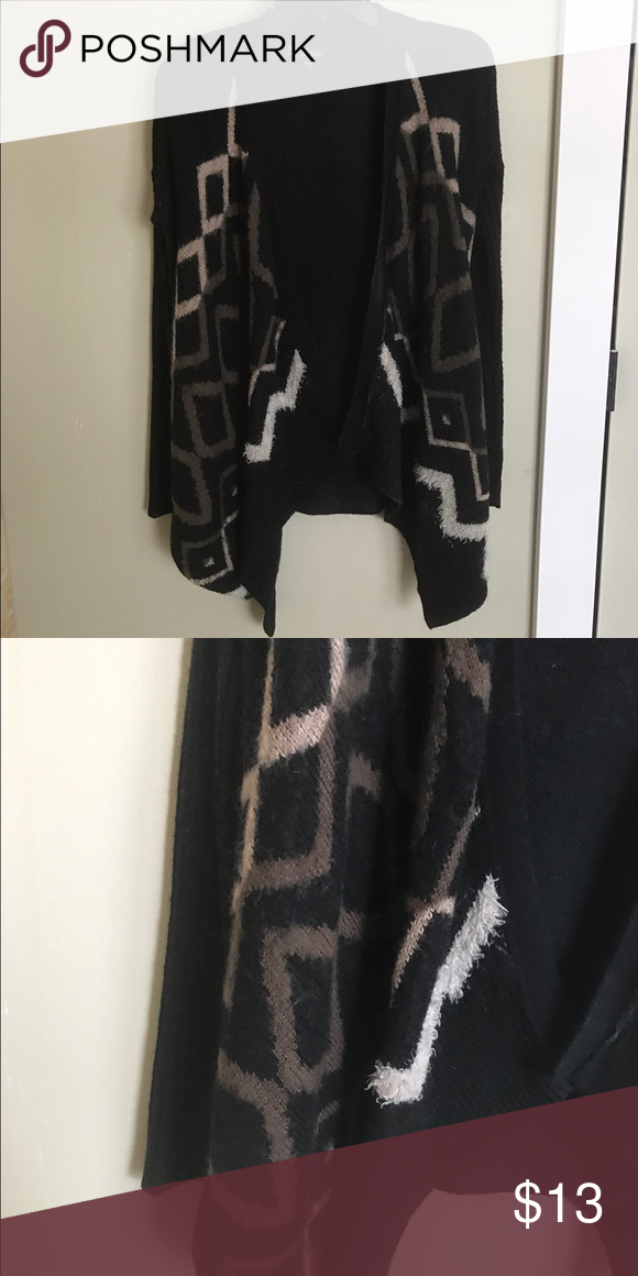 Small Cardigan Sweater Black, Brown, and Cream colored sweater. Drapes in the front. Fun design! Size Small. Au Lieu Sweaters Cardigans
