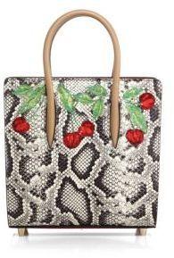 bd50ee82460 Christian Louboutin Paloma Small Cherry-Embroidered Python   Metallic Leather  Tote
