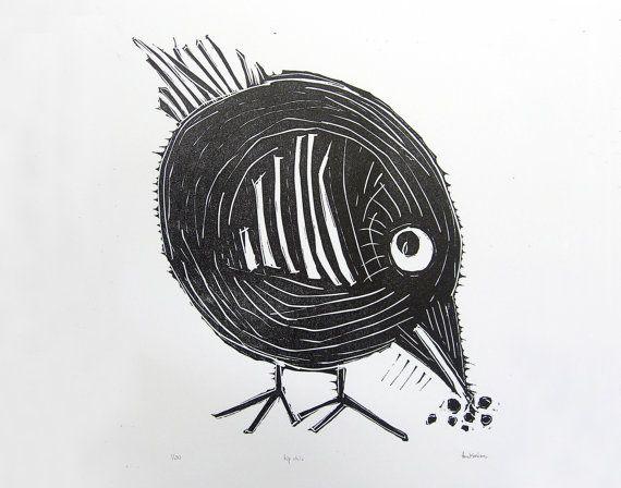 Hip Chic Linocut Letterpress Print in Black. Chicken Print. Animal Print. Nursery Decor. Wall Art. Home Decor. Kids Room. on Etsy, $20.20 AUD
