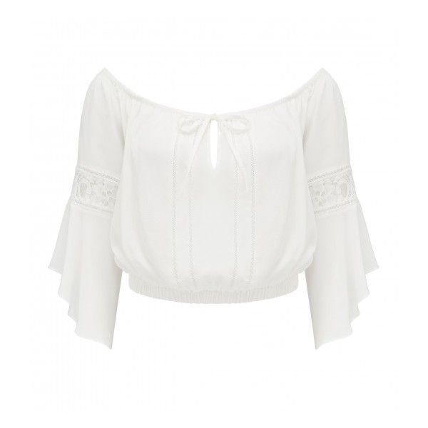 Forever New Eva Flutter Sleeve Gypsy Crop Top ($50) ❤ liked on Polyvore featuring tops, forever new, ruffle sleeve top, white gypsy top, white tops and gypsy top