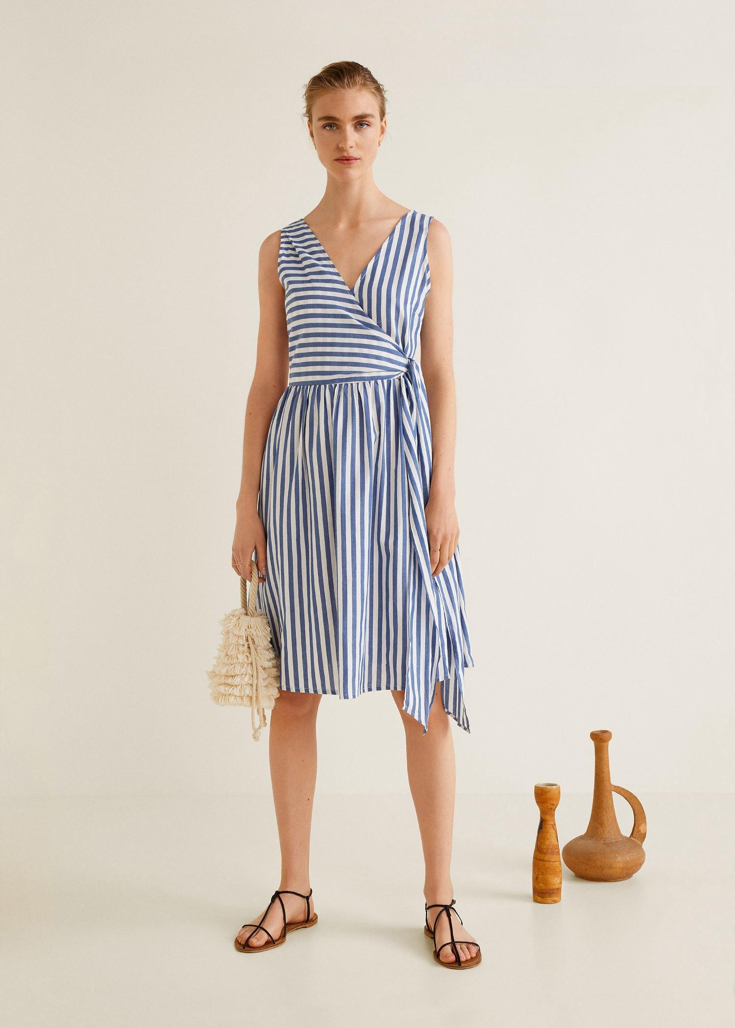 5dc49936b5d Mango Striped Wrap Dress - Women