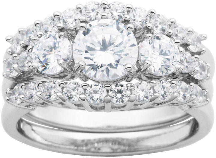 Fine Jewelry DiamonArt Cubic Zirconia Sterling Silver 3-Stone Bridal Ring Set E02cY