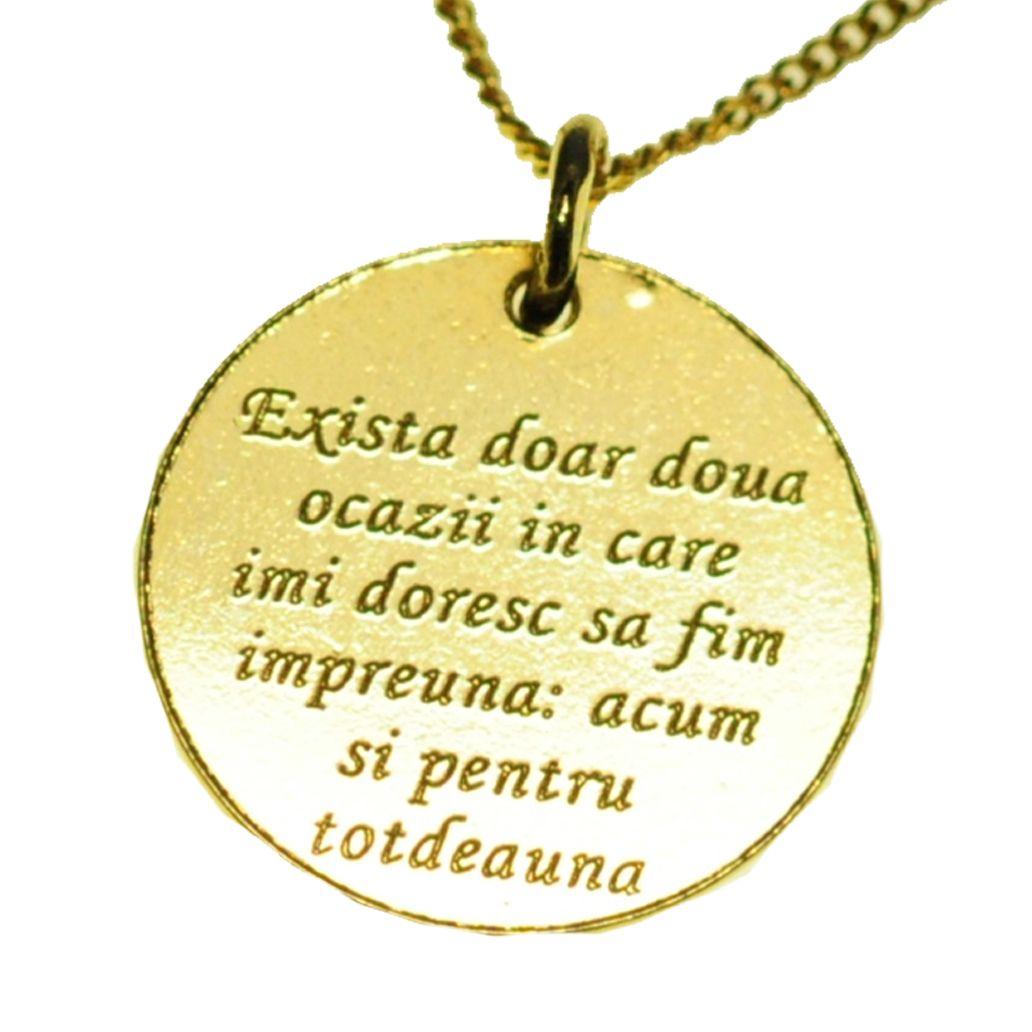 Medalion din argint placat cu aur gravat cu mesaj