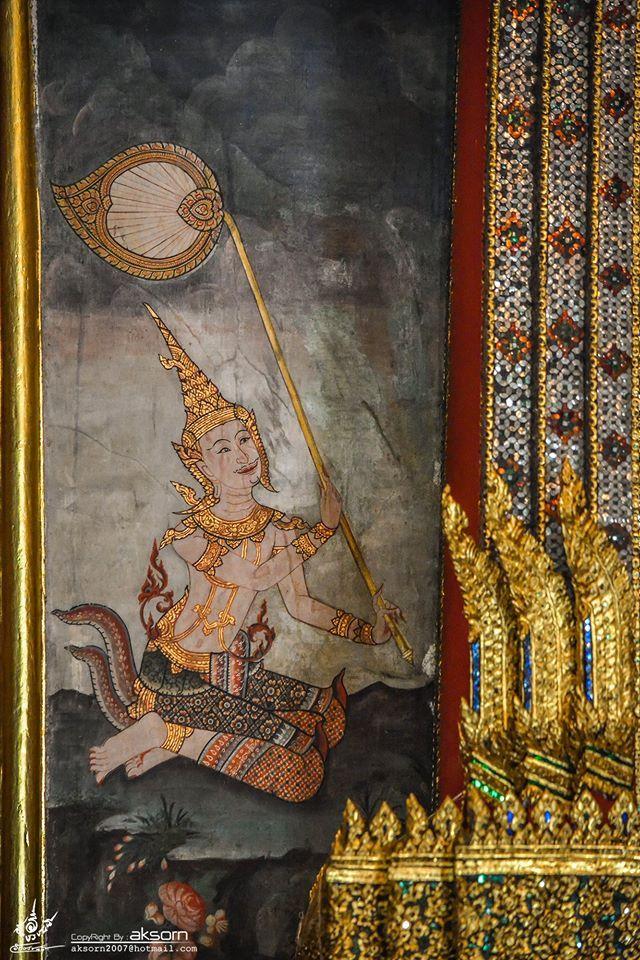 ภาพจิตรกรรมฝาผนังที่ข้างบุษบกประดิษฐานพระประธานในพระอุโบสถ วัดบวรสถานสุทธาวาส (วัดพระแก้ววังหน้า)