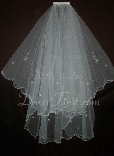 Two-tier Elbow Bridal Veils With Beaded Edge (006035465)