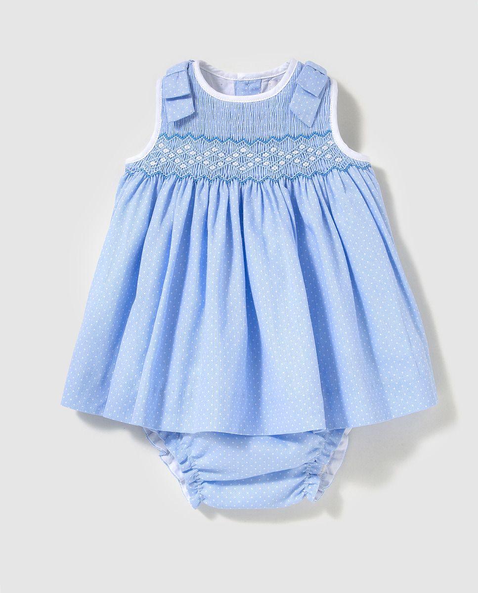 9a8c509697f8 Vestido de bebé niña Dulces en azul con bordado smock | Smocking 2 ...