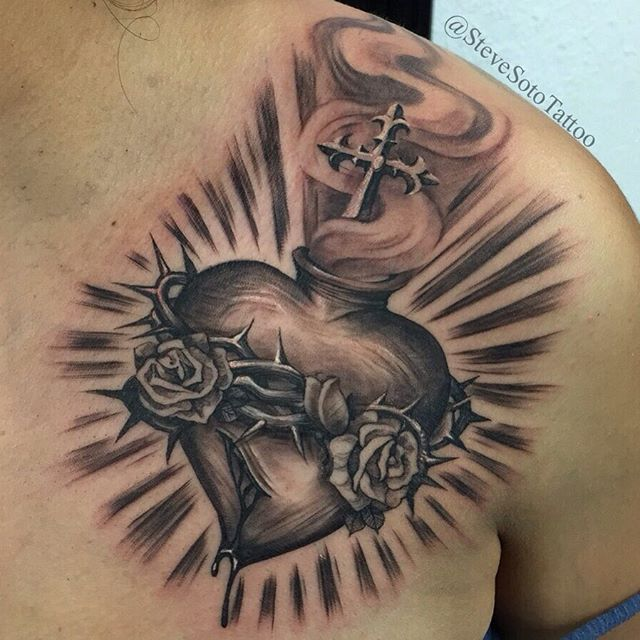 Middle Chest Tattoo: Sacred Heart For Middle Of Chest In Between The Two Roses