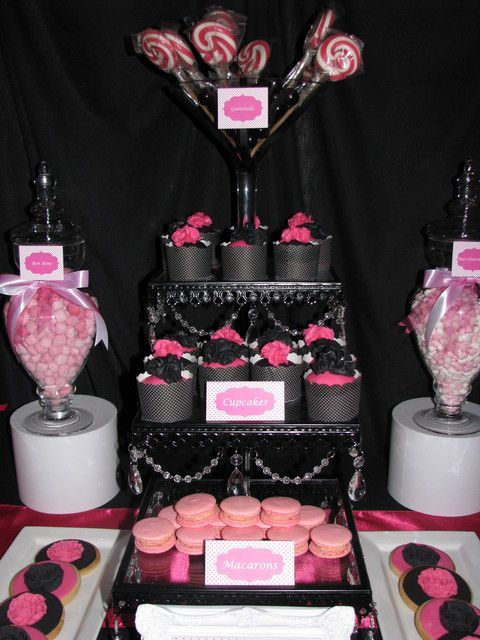 Black Hot Pink White Birthday Party Ideas Nenes Baby Shower