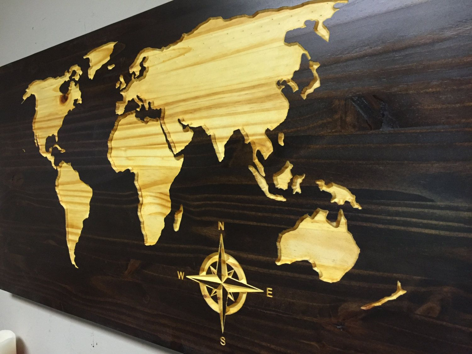 CARVED World Map, beautiful dark stain finish, Wood Map decor ...