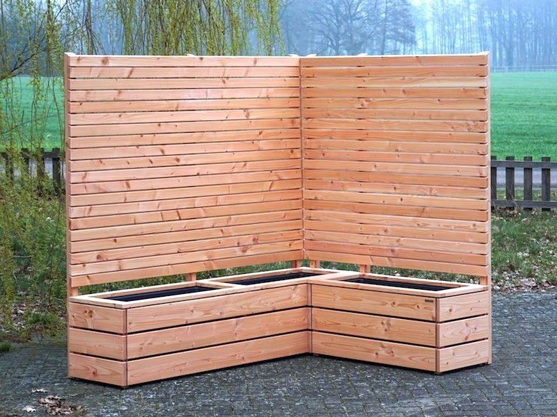 Pflanzkasten Holz Ecke mit Sichtschutz Pflanzkasten holz