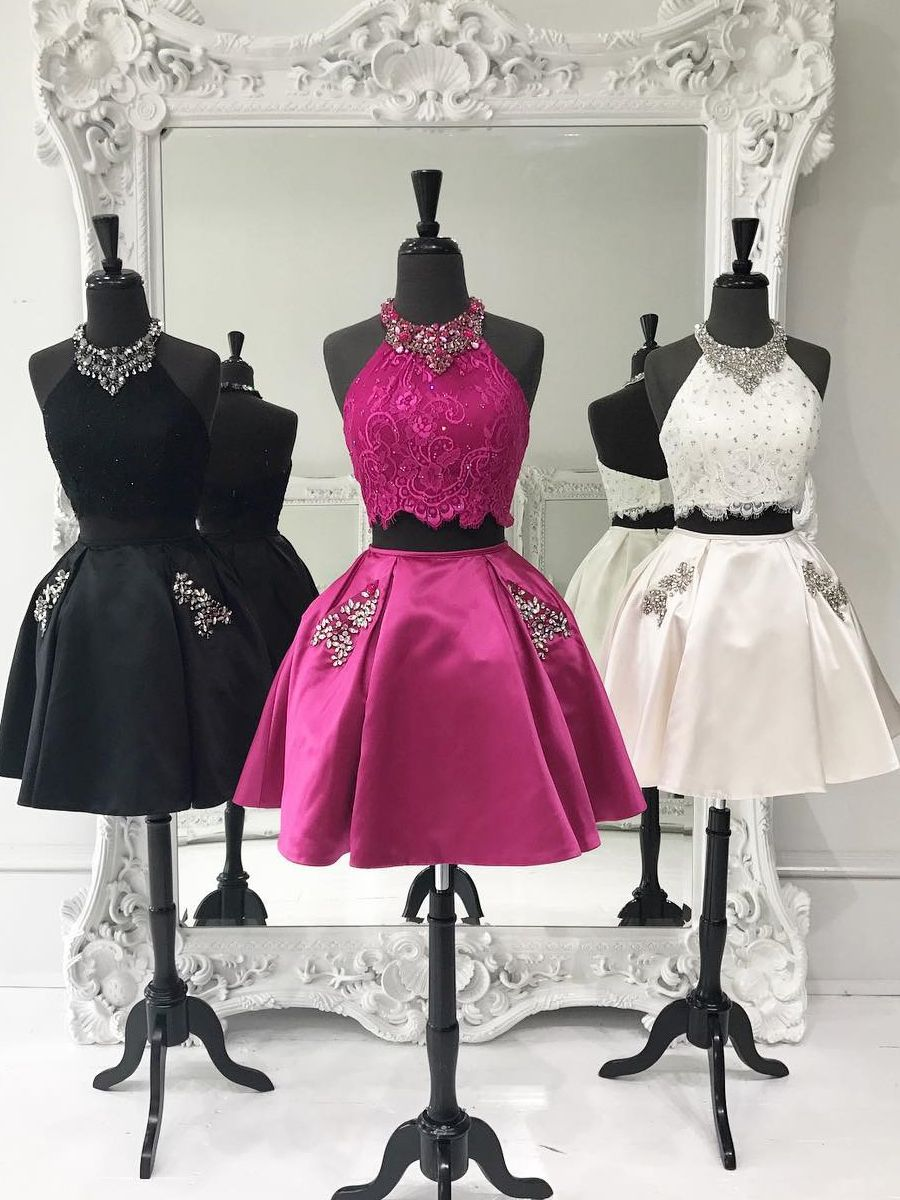 Sparkly two piece short homecoming dress with beads dresses