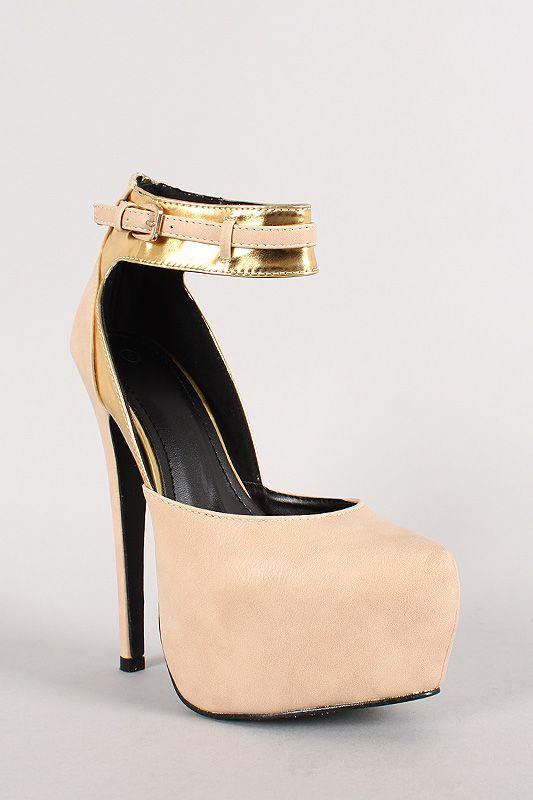 Geeny-1 Ankle Strap Stiletto Platform Pump 33$