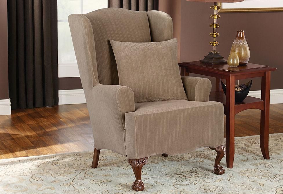Stretch Pinstripe One Piece Wing Chair Slipcover T