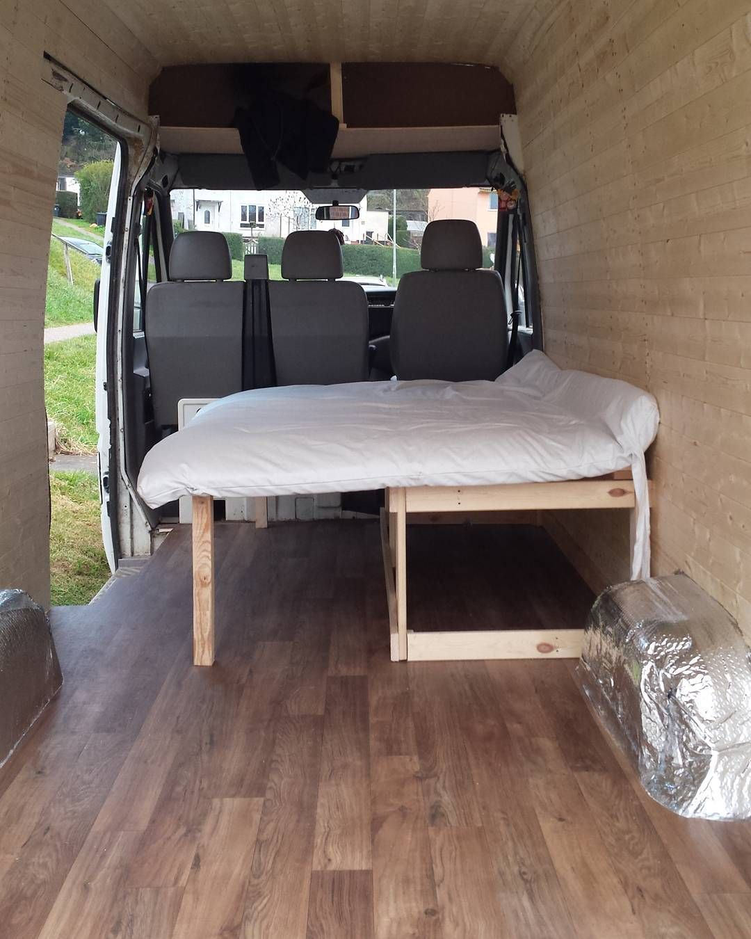 Pull out double bed vw lt35 selfbuild campervan