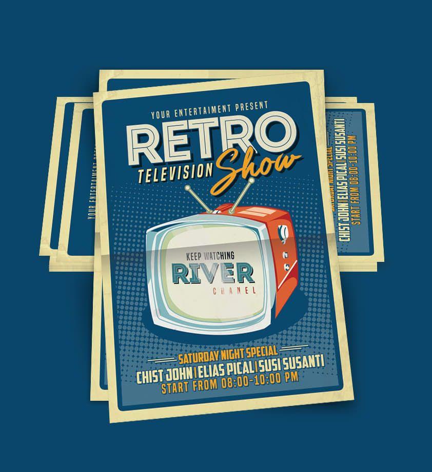 Retro TV Show Flyer Template PSD Flyer Templates Pinterest - retro flyer templates