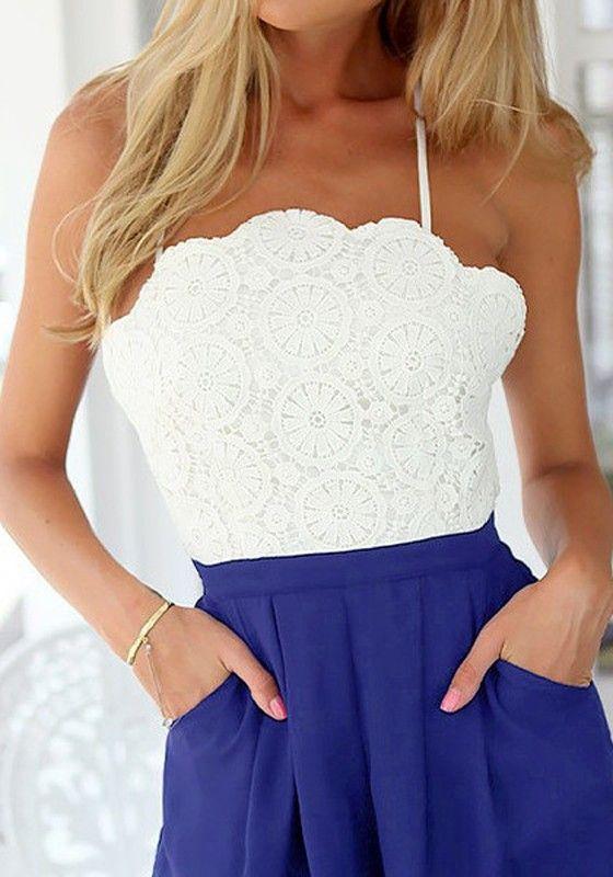 f49cd7b17b1a White-Blue Patchwork Lace Cross Back Backless High Waist Sexy Short Jumpsuit  - Jumpsuit Pants - Bottoms
