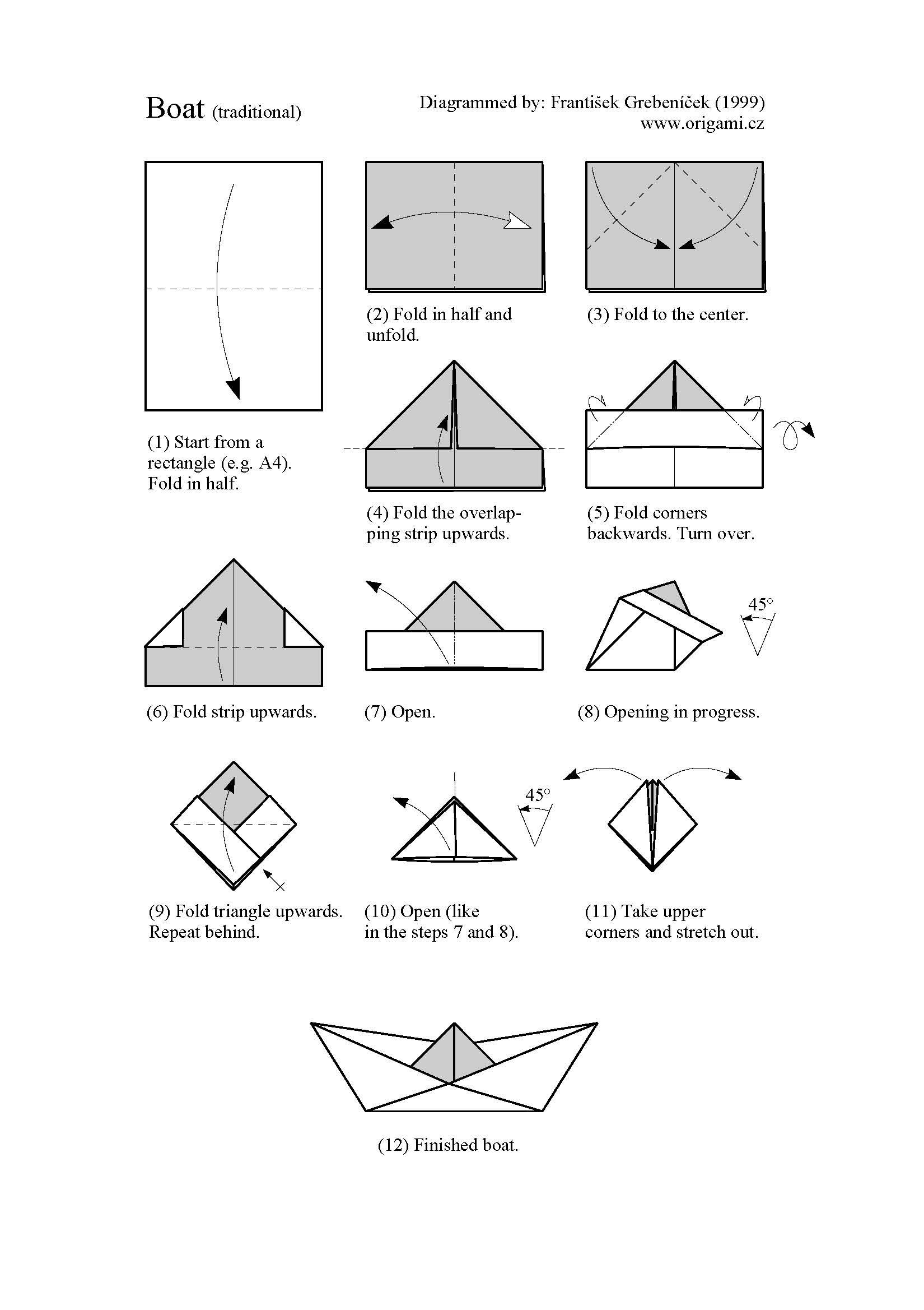 enorigami.com | Make a paper boat. Origami boat instructions. Origami boat