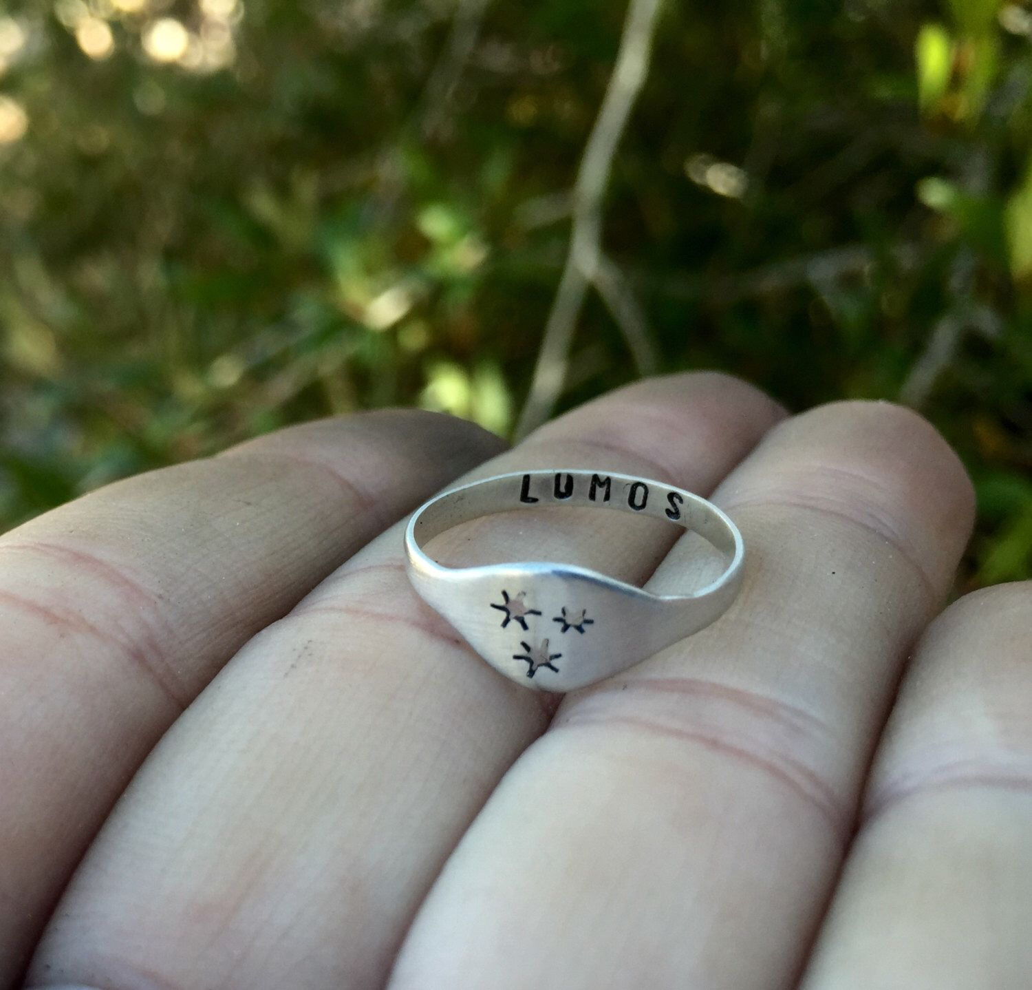 Harry Potter Stars Ring Custom Hand Stamped Spell Inside Sterling Silver Harry Potter Jewelry By Lucksmithfindin Harry Potter Jewelry Star Ring Rings