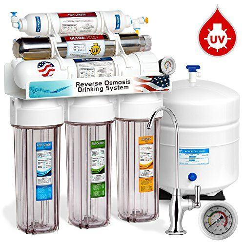 Express Water Rouv10dcg Uv Ultra Violet Sterilizer Reverse Osmosis Home Drinking Water Filtration System 100 Gpd Deluxe Chrome Faucet Pressure Gauge Clear Housing Reverse Osmosis Water Reverse Osmosis Water Filter Osmosis Water