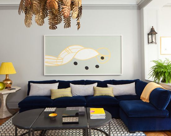 Decoraca Sala Sofa Azul Escuro Marinho 1 Decor Em 2019