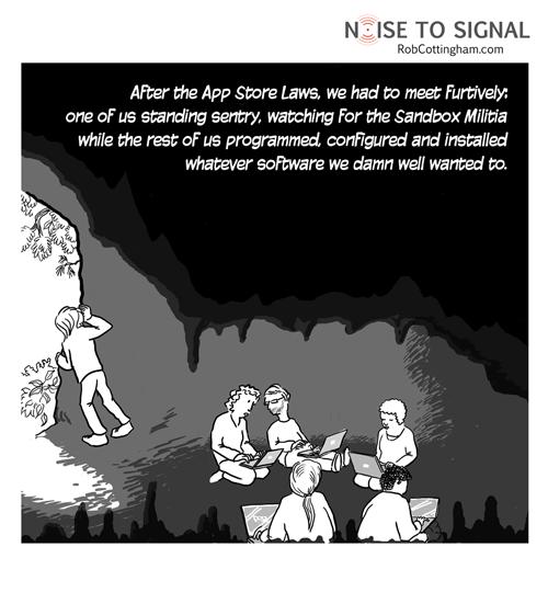 Postapppocaylptic computing. Cartoon, Sandbox, Memes