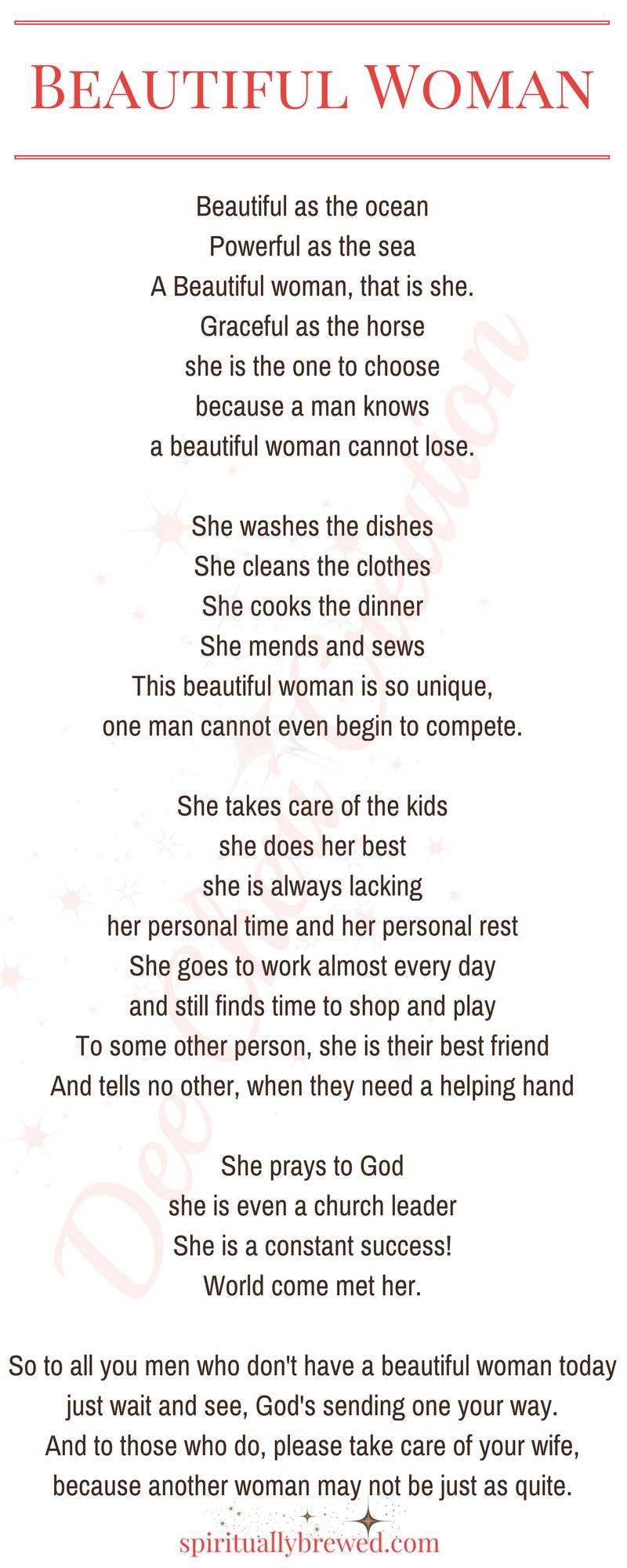 Poetry--Beautiful Woman | spirituallybrewed com | Women