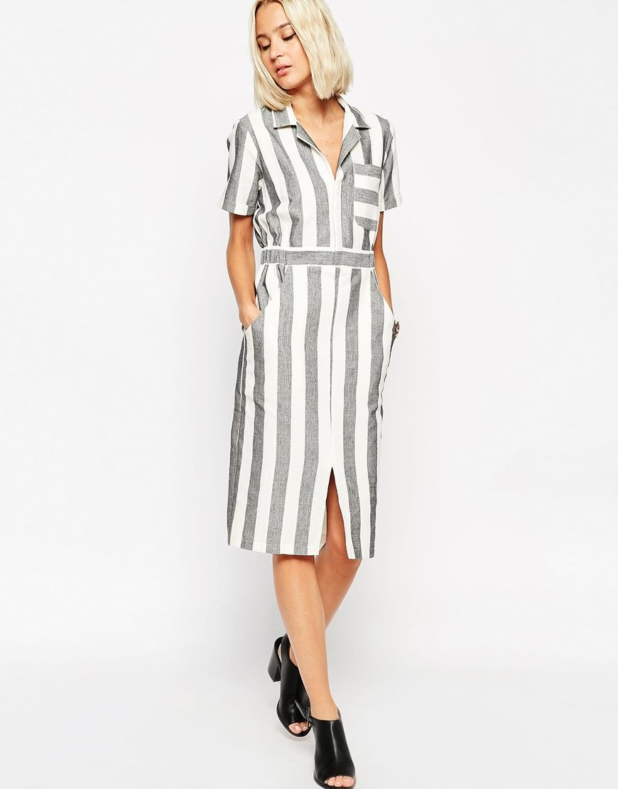 Image 4 of ASOS TALL Shirt Dress in Natural Fibre Stripe 83483cefe