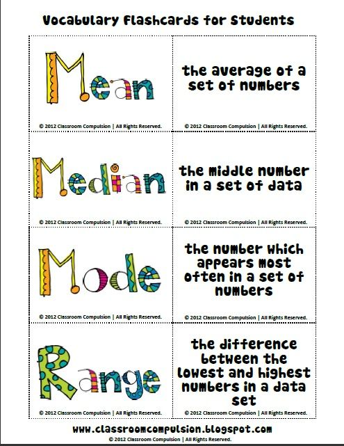 classroom compulsion mean median mode and range pack with