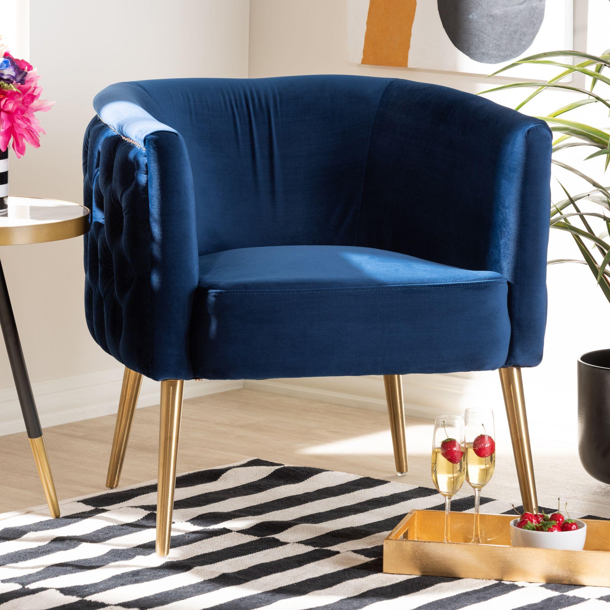 Baxton Studio Marcelle Glam and Luxe Navy Blue Velvet