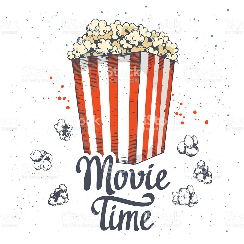 Vector Illustration With Sketch Popcorn Bucket Cinema Snack Hand Popcorn Bucket Vector Illustration Popcorn Logo