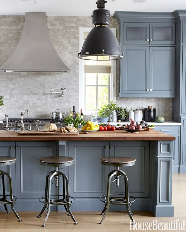Blue Gray Kitchen Paint: The Backsplash Is Acid-washed Seagrass Limestone From