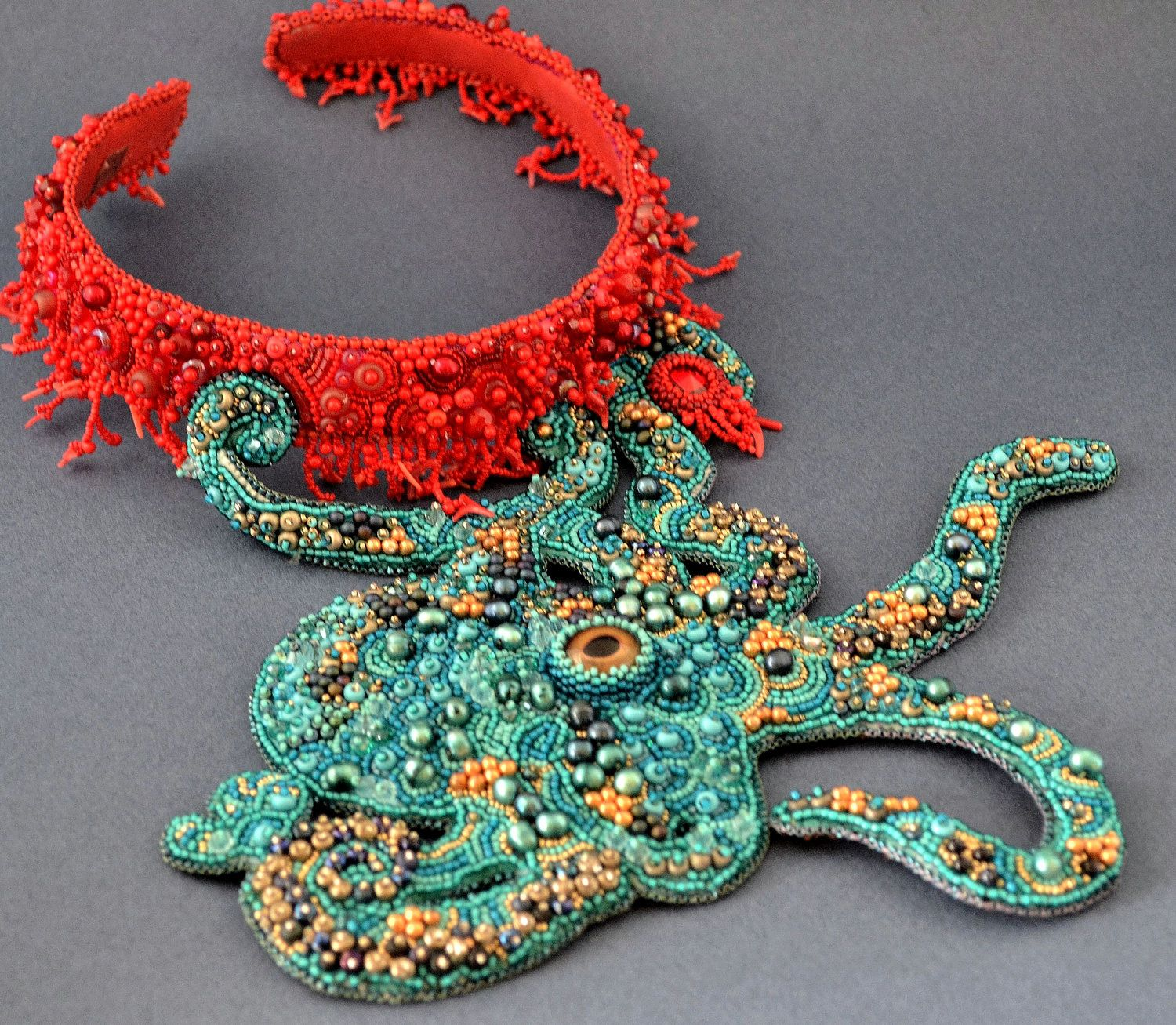 Embroidered Beads: Octopus Bead Embroidery Necklace