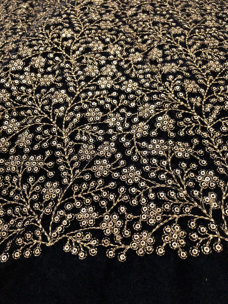 Black Chiffon Scattered Glitter Sequins Fabric