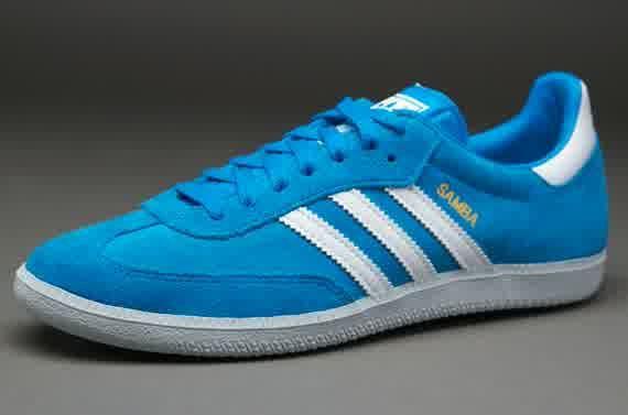 Sepatu Sneakers Adidas Originals Samba Blue White Grey Sepatu