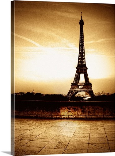 Premium Thick-Wrap Canvas Wall Art Print entitled Eiffel Tower with ...