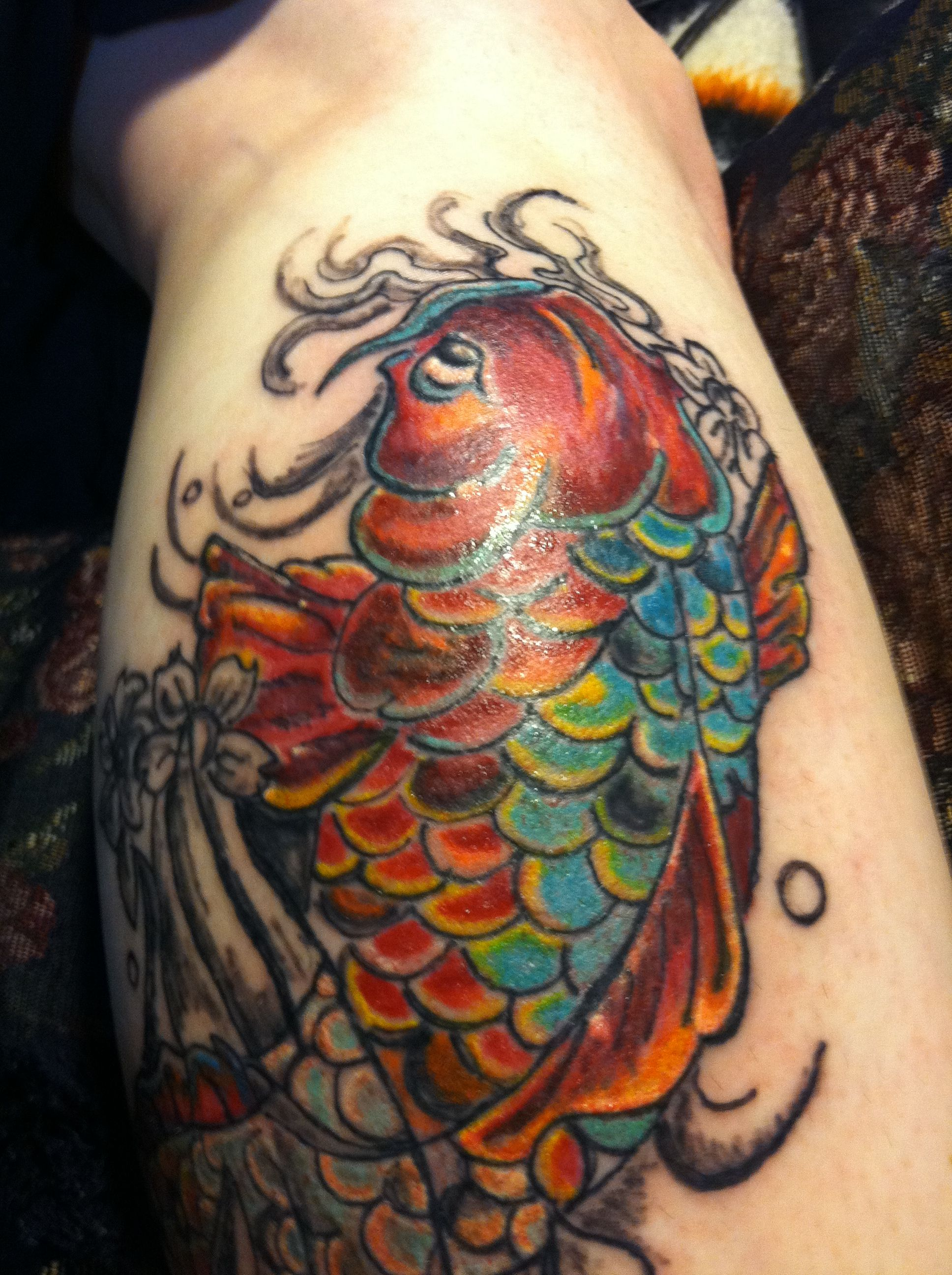 This is my koi fish tattoo symbolic in the buddhism to for Koi fish representation